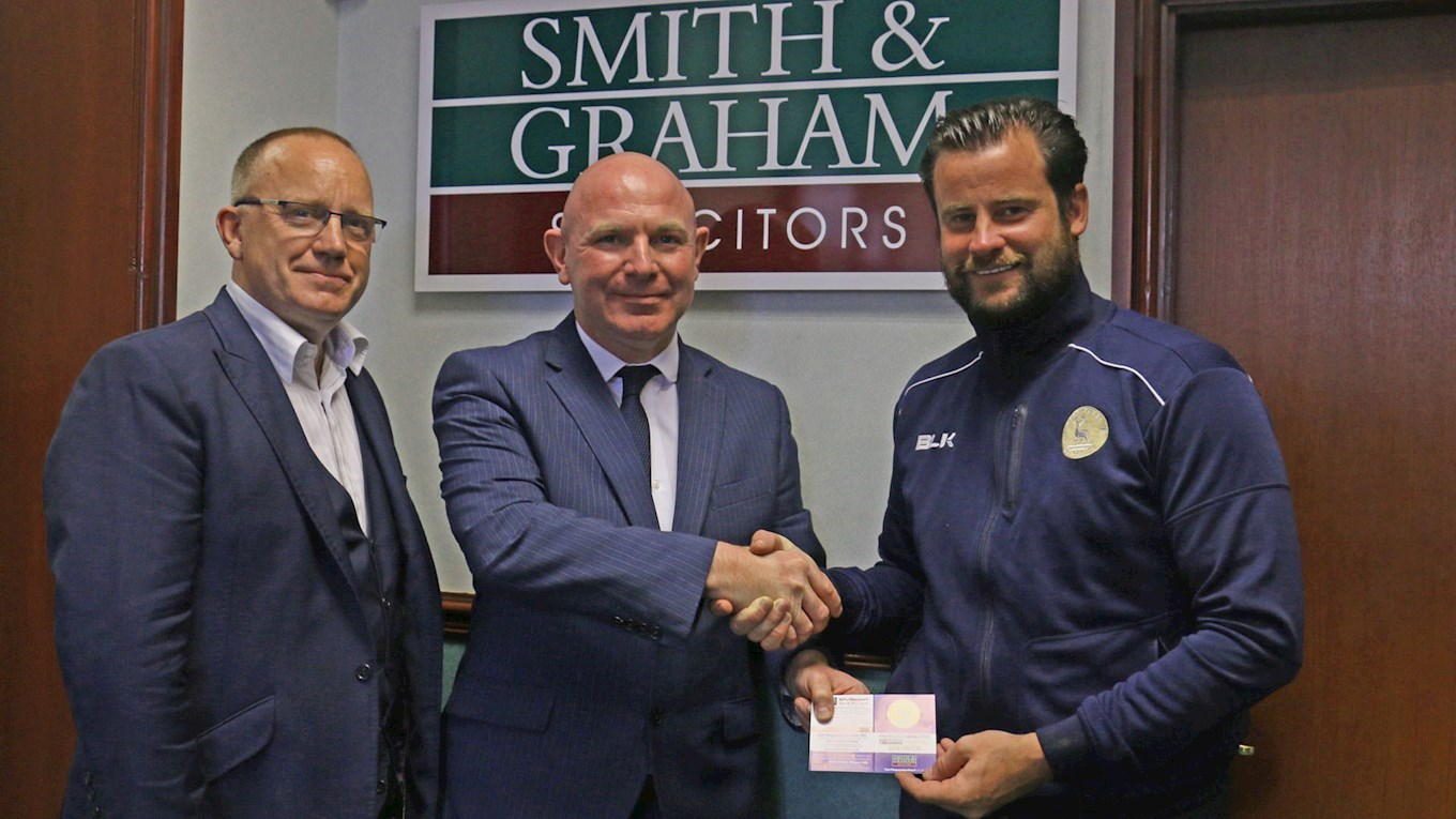 Mark Maguire and Matthew Bates with Steven Horsley from Smith & Graham
